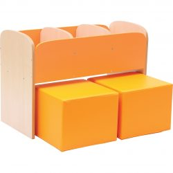 Children's Bookcase with Seating Pouffes – Orange