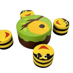 "Soft Play Set Table with 4 Stools ""Bumble Bee"""