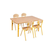 Wooden Table with adjustable metal legs, 59-76cm - Yellow