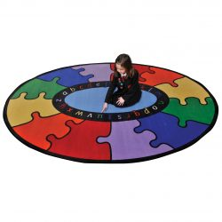 Abc Oval Rainbow Puzzle Learning Rug