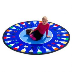 Abc Round Pencil Learning Rug