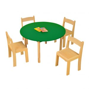 GREEN ROUND Table Beech chairs HR