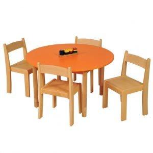 Orange Round Table Chairs Beech LR