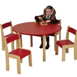 Red chairs ROUND Table HannahHR
