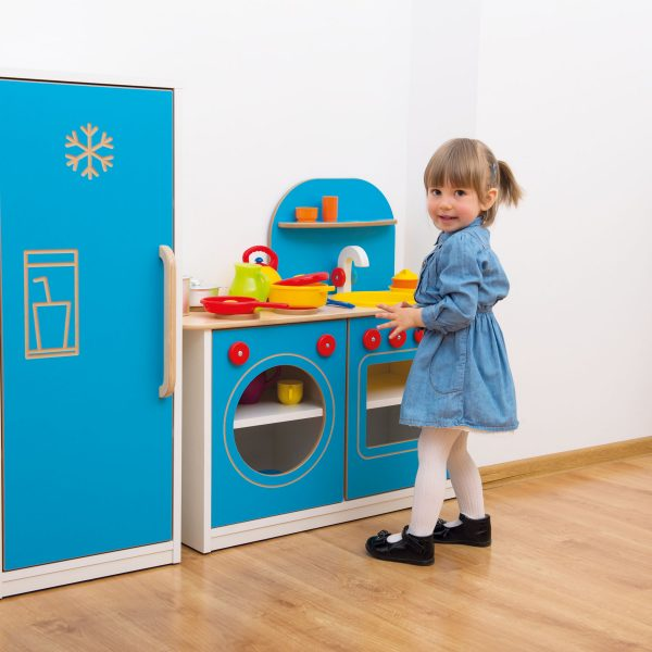 wooden play kitchen, toy kitchen, Emily