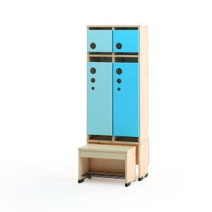 Cloakroom Unit/Locker with sliding seat | 2, 4 or 6 compartments – 6 Compartments