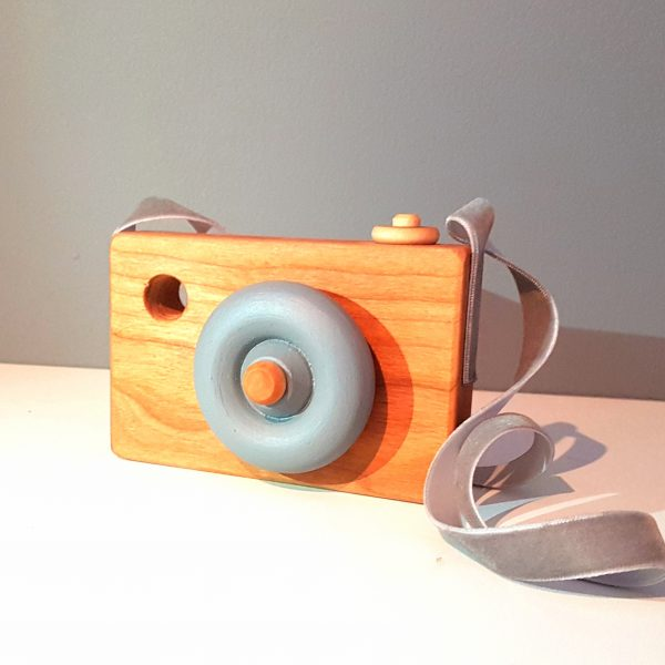 wooden toy camera, toy camera, handmade toy camera, solid wood toy camera, grey camera