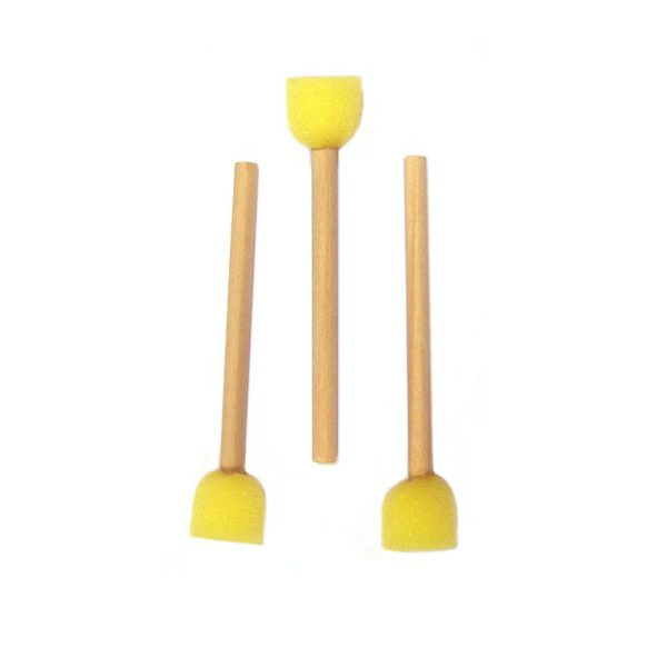 Yellow Foam Brush on a Wooden Handle, Set of 10