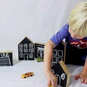 Wooden city blocks, black board house, chalkboard wooden toy house