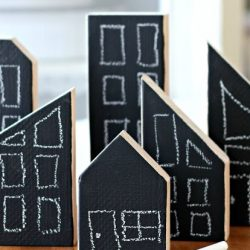 Wooden town set with chalkboard paint