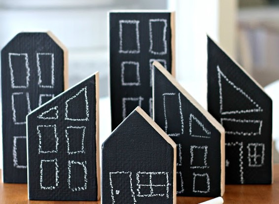 chalkboard wooden house, wooden blocks, city blocks, black board wooden bocks