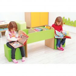 Children's Bookcase with Seating Pouffes – Green