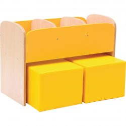 Children's Bookcase with Seating Pouffes – Yellow