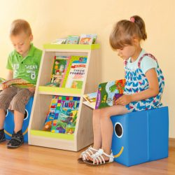 """Bookcase with Seating Pouffes """"Smile"""""""