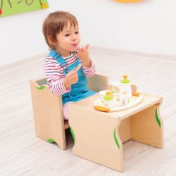 Wooden chair and table 2 in 1, set of 2