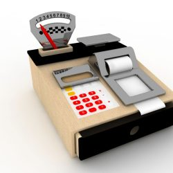 WOODEN CASH REGISTER & PLAY SCALES COMBINED