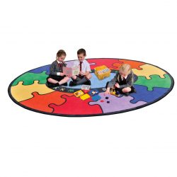 Abc Round Rainbow Puzzle Learning Rug