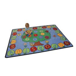 Trees Apples Alphabet and Numbers Rug