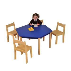 Blue HEX Table Beech chairs HR