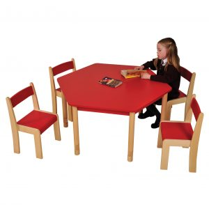 Red HEX table ChairsHR
