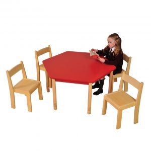 Red Hex Table Beech ChairsHR