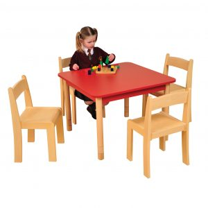 Red SQUARE table Beech ChairsHR