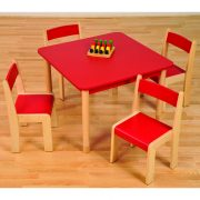 Red SQUARE table ChairsHR