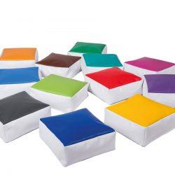 Square rainbow floor cushions Set of 12