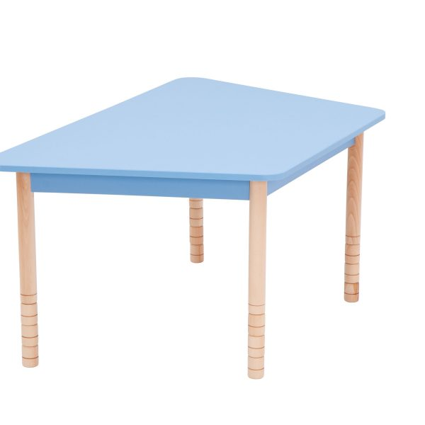 Height Adjustable Wooden Table with Colorful Top- Rectangular