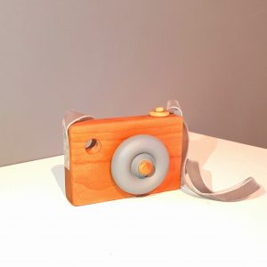 wooden toy camera, grey camera, solid wood camera
