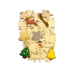 Wooden Christmas Decorations Set of 54