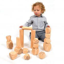 Wooden Boulders Set of 18