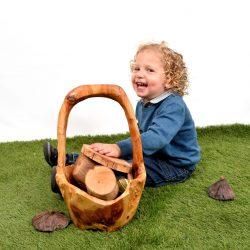 Natural Wooden Basket – Medium