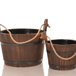 Wooden Water Buckets, Set of 2