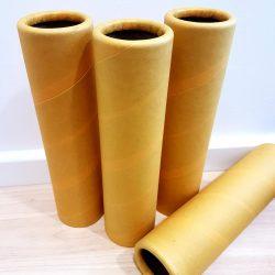 Yellow Cardboard Tubes, 4 pcs