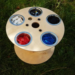 loose parts, upcycled cable drum, cable reel, potion station