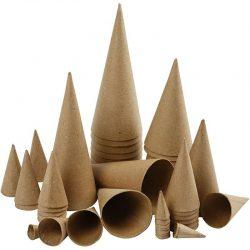 Cones, H: 4-20 cm, 50 pcs