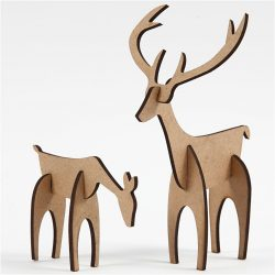 Stag and Hind, H: 5+12.5 cm, L: 6.5+8 cm, MDF, 1set