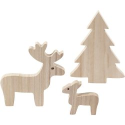 Deer and spruce, H: 6+12+15 cm, depth 1.5 cm, 1set