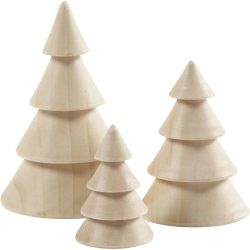 Wooden Christmas Trees, H: 5+7.5+10 cm, D: 3.5+5.4+6.7 cm, 3pcs