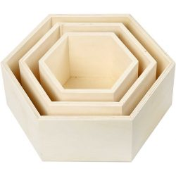 Storage Boxes, hexagonal, H: 14,8+19+24,2 cm, depth 10 cm, plywood, 3pcs