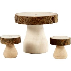 Mushroom Table with Stools, size 6×5 cm, size 2.5 x 2.5 cm, 1set