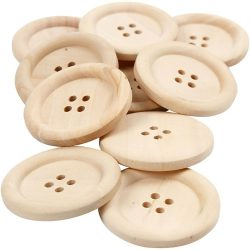 Wooden Buttons, D: 35 mm, hole size 2 mm, china berry, 4 holes, 10 pcs
