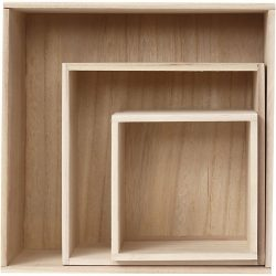 Storage Boxes, square, H: 15 x 15+ 21.5 x 21.5+28 x 28 cm, depth 12,5 cm, 3 pcs