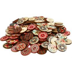 Wooden Buttons, D: 20 mm, 180 pcs