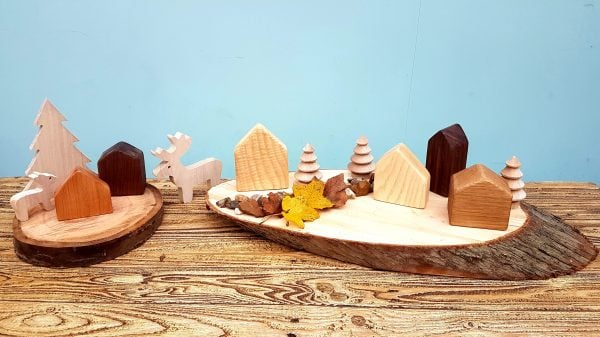 open ended play, wooden house, small world play, reggio inspired
