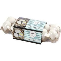 Egg, Plastic, H: 6 cm, white, 12pcs