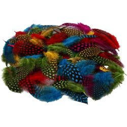 Guinea fowl feathers , approx. 100 pcs, assorted colors, 3g