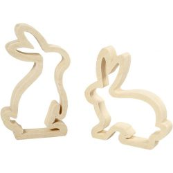 Bunnies, H: 14 cm, W: 13 cm, Plywood, 2 pcs, depth 2 cm