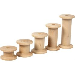 Spool, D: 24 mm, L: 15+20+27+38+50 mm, birch, 10 pcs